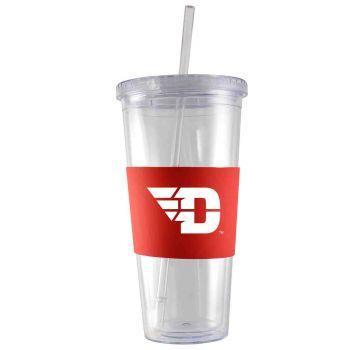 University of Dayton-24 oz. Acrylic Tumbler- Engraved Silicone Sleeve-Red