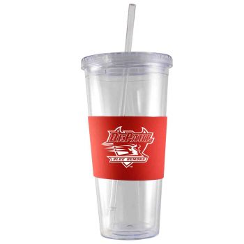 DePaul University-24 oz. Acrylic Tumbler- Engraved Silicone Sleeve-Red