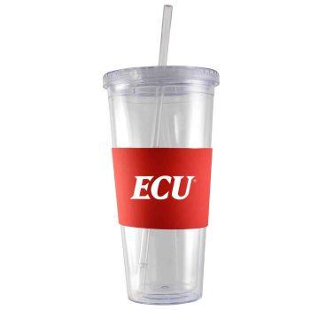 East Carolina University-24 oz. Acrylic Tumbler- Engraved Silicone Sleeve-Red