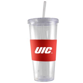 University of Illinois at Chicago-24 oz. Acrylic Tumbler- Engraved Silicone Sleeve-Red