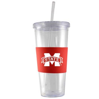 Mississippi State University -24 oz. Acrylic Tumbler- Engraved Silicone Sleeve-Red