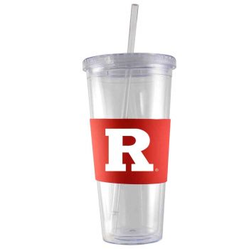 Rutgers University-24 oz. Acrylic Tumbler- Engraved Silicone Sleeve-Red