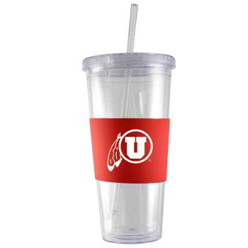 University of Utah-24 oz. Acrylic Tumbler- Engraved Silicone Sleeve-Red