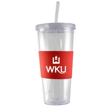 Western Kentucky University-24 oz. Acrylic Tumbler- Engraved Silicone Sleeve-Red