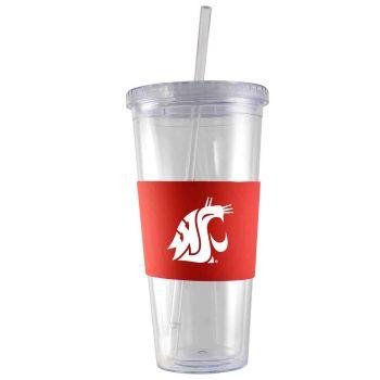 Washington State University-24 oz. Acrylic Tumbler- Engraved Silicone Sleeve-Red