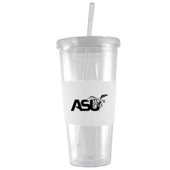 Alabama State University-24 oz. Acrylic Tumbler- Engraved Silicone Sleeve-White
