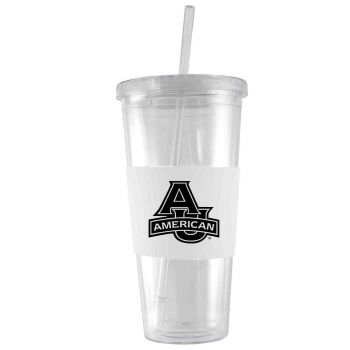 American University-24 oz. Acrylic Tumbler- Engraved Silicone Sleeve-White