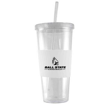 Ball State University-24 oz. Acrylic Tumbler- Engraved Silicone Sleeve-White