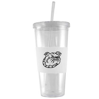 Bryant University-24 oz. Acrylic Tumbler- Engraved Silicone Sleeve-White