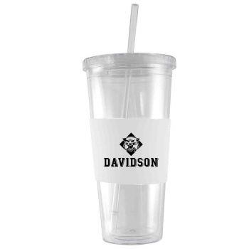 Davidson College-24 oz. Acrylic Tumbler- Engraved Silicone Sleeve-White