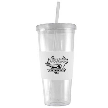DePaul University-24 oz. Acrylic Tumbler- Engraved Silicone Sleeve-White