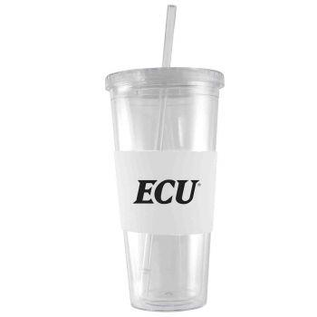 East Carolina University-24 oz. Acrylic Tumbler- Engraved Silicone Sleeve-White
