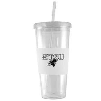 East Tennessee State University-24 oz. Acrylic Tumbler- Engraved Silicone Sleeve-White