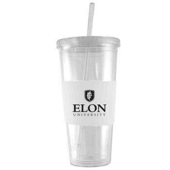 Elon University-24 oz. Acrylic Tumbler- Engraved Silicone Sleeve-White