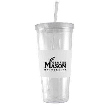 George Mason University -24 oz. Acrylic Tumbler- Engraved Silicone Sleeve-White
