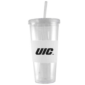 University of Illinois at Chicago-24 oz. Acrylic Tumbler- Engraved Silicone Sleeve-White