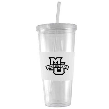 Marquette University-24 oz. Acrylic Tumbler- Engraved Silicone Sleeve-White