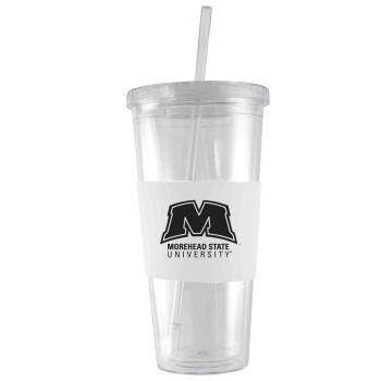 Morehead State University-24 oz. Acrylic Tumbler- Engraved Silicone Sleeve-White