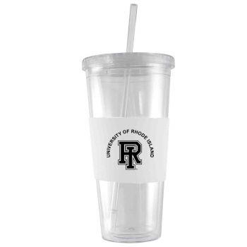 The University of Rhode Island-24 oz. Acrylic Tumbler- Engraved Silicone Sleeve-White
