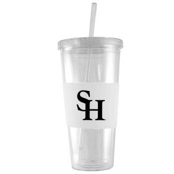 Sam Houston State University-24 oz. Acrylic Tumbler- Engraved Silicone Sleeve-White