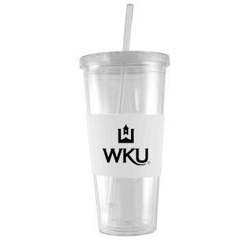 Western Kentucky University-24 oz. Acrylic Tumbler- Engraved Silicone Sleeve-White