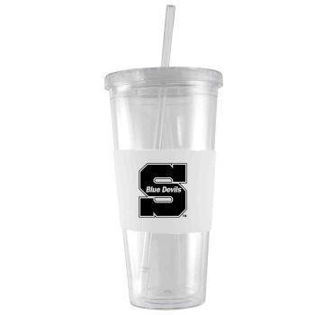 University of Wisconsin-Stout-24 oz. Acrylic Tumbler- Engraved Silicone Sleeve-White