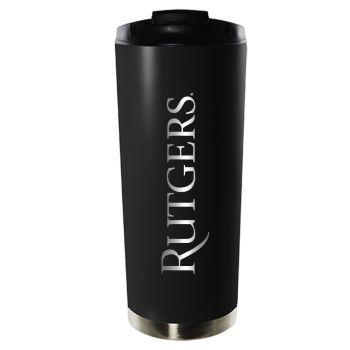 Rutgers University-16oz. Stainless Steel Vacuum Insulated Travel Mug Tumbler-Black