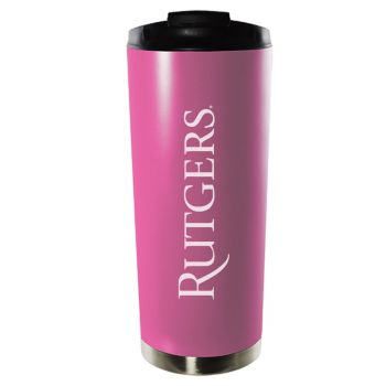 Rutgers University-16oz. Stainless Steel Vacuum Insulated Travel Mug Tumbler-Pink