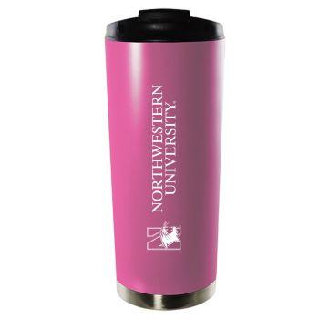 Northwestern University-16oz. Stainless Steel Vacuum Insulated Travel Mug Tumbler-Pink