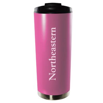 Northeastern University-16oz. Stainless Steel Vacuum Insulated Travel Mug Tumbler-Pink