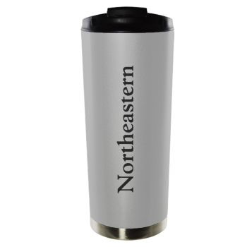 Northeastern University-16oz. Stainless Steel Vacuum Insulated Travel Mug Tumbler-Silver
